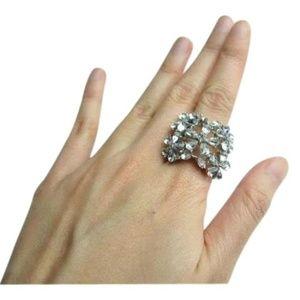 BCBGMAXAZRIA Silver Flowers Diamond Crystal Large